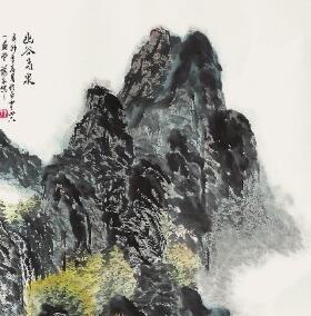 幽谷飞泉(国画)---叶贤彬