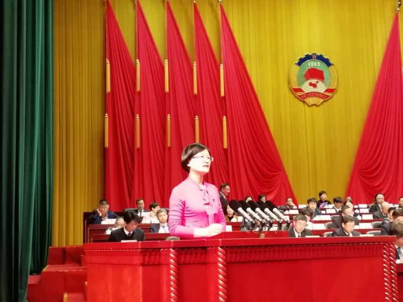 """胡晓红理事长""""以国际标准建设无障碍丽水大花园""""大会发言获得市政协优秀大会发言第一名"""